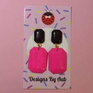 Pink and Black Earrings Hypoallergenic hardware